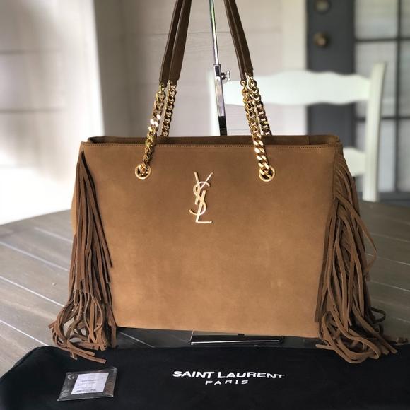 34261f1df3 YSL Saint Laurent Monogram Suede Fringe Handbag